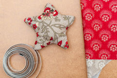 Handmade christmas decoration, Star made of fabric Royalty Free Stock Photo