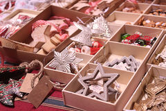 Handmade Christmas decorations exposed on advent market stall Stock Photography