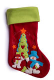 Handmade Christmas decorations: felt Santa boot Stock Photography