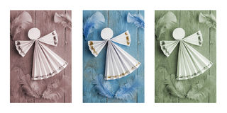 Handmade Christmas decorations,paper angel on wooden background. Triptych Stock Images