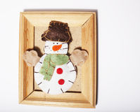 Handmade christmas gifts in wooden frame vintage Royalty Free Stock Images