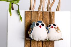 Handmade Christmas Novelty Family Of Two Owls Ornament Decoratio. N Wall Or Door Hanger On Wooden Background Handcrafted From Filled Fabric Stock Images