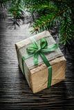 Handmade Christmas present box fir tree branch celebrations conc Royalty Free Stock Photos
