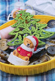Handmade Christmas symbolic toy bear Royalty Free Stock Photo