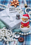 Handmade Christmas symbolic toy bear Stock Photo