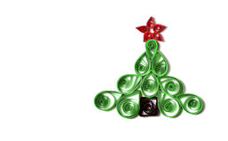 Handmade Christmas tree. Cut out from paper. Quilling Stock Image