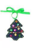 Handmade Christmas tree. Handmade Christmas toy in the shape of Christmas tree Stock Photo