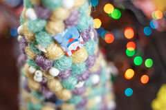 Handmade Christmas tree close up as a background Stock Photo
