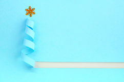 Handmade Christmas tree cut out from blue paper. Stock Images