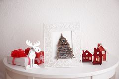 Handmade Christmas tree in photo frame Royalty Free Stock Photography