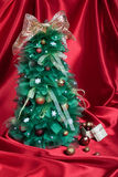 Handmade Christmas Tree on Red Drapery Royalty Free Stock Photography