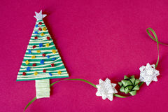 Handmade christmas tree and three bows Royalty Free Stock Images