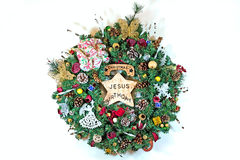 Handmade Christmas Wreath Stock Photos