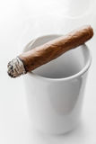 Handmade cigar lays on coffee cup Stock Photography