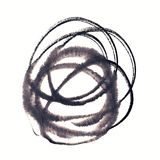 Handmade circle drawing ink black brush sketch on isolated white Royalty Free Stock Image