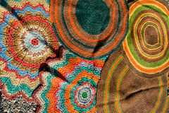 Handmade circular oriental carpets Royalty Free Stock Photography