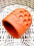 Handmade clay cup Stock Photo
