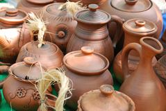 Handmade clay pots. Royalty Free Stock Image