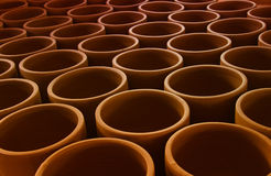 Handmade clay pots Stock Photos