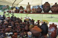 Handmade clay pots for sale royalty free stock photography