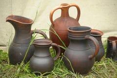 Handmade clay pots Stock Image