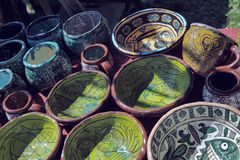 Handmade clay pots Royalty Free Stock Photo