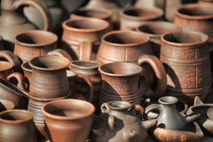 Handmade clay pots Royalty Free Stock Images