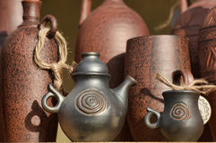Handmade clay pots Royalty Free Stock Photography