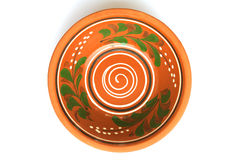 Handmade clay soup dish Stock Images