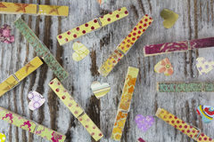 Handmade clothespins and hearts Stock Images