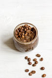 Handmade coffee-cocoa scrub on wooden background close up Stock Image