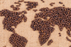 Handmade coffee map. Royalty Free Stock Image
