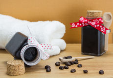 Handmade coffee scrub with coffee beans Stock Images