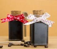 Handmade coffee scrub with coffee beans Stock Photo