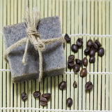 Handmade coffee scrub soap with coffee beans Stock Photography