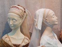 Handmade collectible dolls from the International Moscow Exhibition Art of Dolls Stock Photo