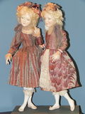 Handmade collectible dolls from the International Moscow Exhibition Art of Dolls. Stock Photos