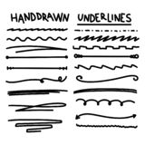 Handmade Collection Set of Underline Strokes. In Marker Brush Doodle Style Various Shapes royalty free illustration