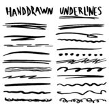 Handmade Collection Set of Underline Strokes. In Marker Brush Doodle Style Various Shapes stock illustration