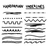 Handmade Collection Set of Underline Strokes. In Marker Brush Doodle Style Various Shapes vector illustration
