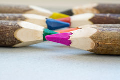 Handmade color crayons Stock Images