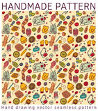 Handmade color doodles seamless pattern Royalty Free Stock Photos