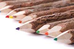 Handmade color pencil drawing of a wooden logs macro Stock Photo