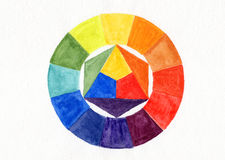 Handmade color wheel. Watercolor handdrawn Stock Photo