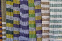 Free Handmade Colorful Burmese Fabric For Sell In A Tourist Stall On The Street Market Near Inle Lake In Burma, Myanmar Stock Photos - 216989663