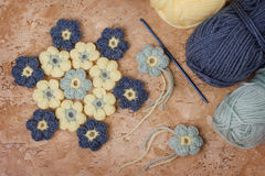Handmade colorful crochet flower with skein Stock Photography