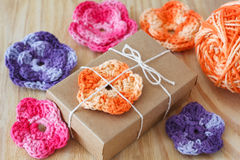 Handmade colorful crochet flowers for decoration of gift Stock Photography