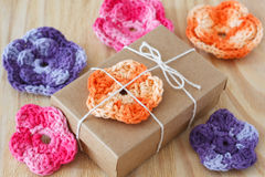 Handmade colorful crochet flowers for gift Royalty Free Stock Images