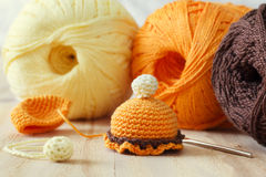 Handmade colorful crochet toys sweets Stock Photos