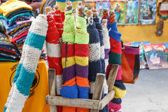 Handmade colorful hammocks on sale Royalty Free Stock Image